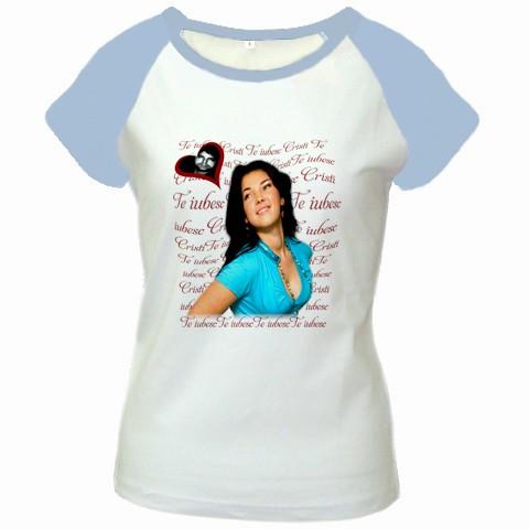tricou personalizat femei, alb-albastru