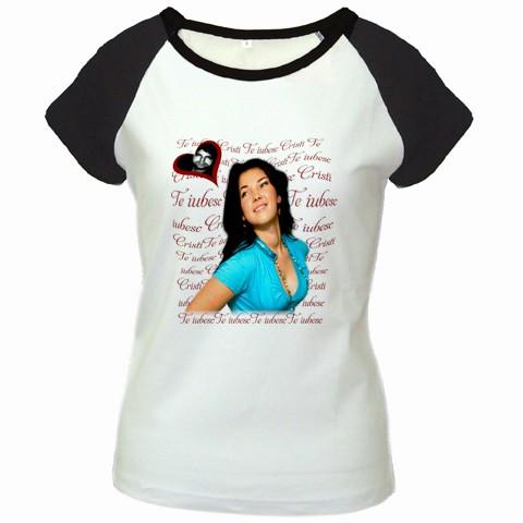 tricou personalizat femei, alb negru