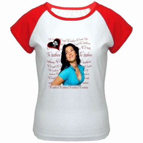 tricou personalizat femei, alb rosu