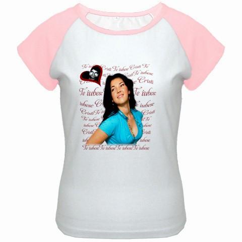 tricou personalizat femei, alb roz