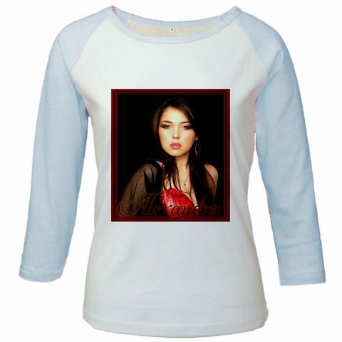 bluza personalizata femei, alb albastra