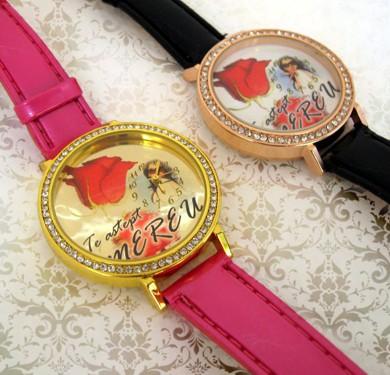 ceasuri de mana pentru femei, curea roz, personalizate cu poze, text