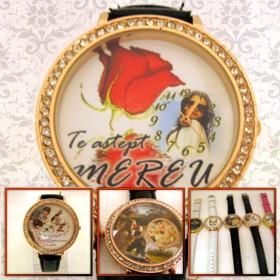 ceas femei mare, personalizat cu poze