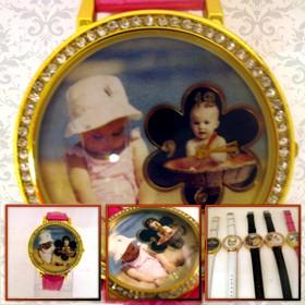 ceas femei mare, personalizat cu poze, curea roz