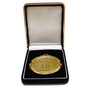 Medalie personalizata cu text, cutie ornamentata
