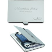 suport carti de vizita metalizat, portcard personalizat cu text, gravura
