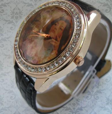ceasuri de mana pentru ea, cadran mare cu cristale, personalizate cu poze