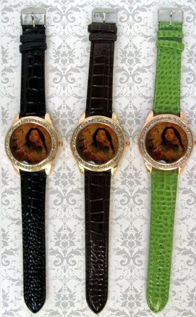 ceasuri de mana elegante, ornamentate cu cristale, cadran mare personalizate cu poza, text