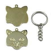 medalion pt pisici, personalizat cu poza sau text, forma cap pisica