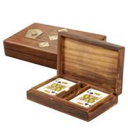 doua seturi carti de joc in cutie lemn personalizata