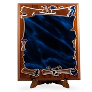 placheta pergament albastra pe suport lemn