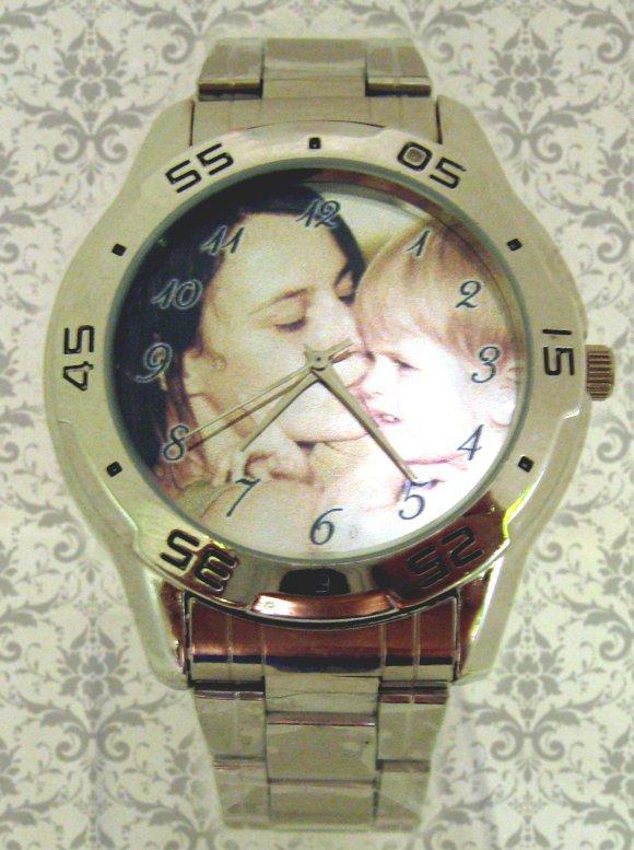 ceas barbatesc mare, curea metalica, personalizat cu poze, cadou pt el
