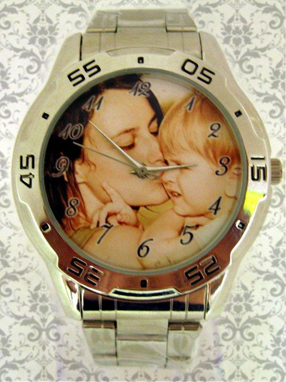 ceas barbatesc metalic, personalizat cu poze, cadou pt el
