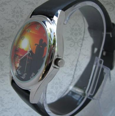 ceas rotund curea piele, personalizat