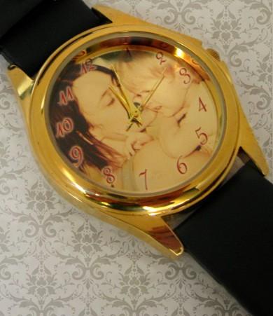 ceas pt el sau ea, aurit mediu, personalizat cu poze, cadouri personalizate