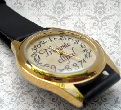 ceas personalizat de mana, unisex, aurit clasic