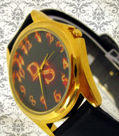 ceas personalizat de mana, unisex, rotund aurit