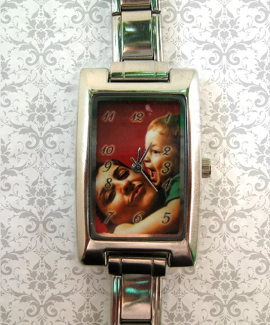 ceas dama dreptunghi argintiu, personalizat cu poze, cadoul perfect pt  ea