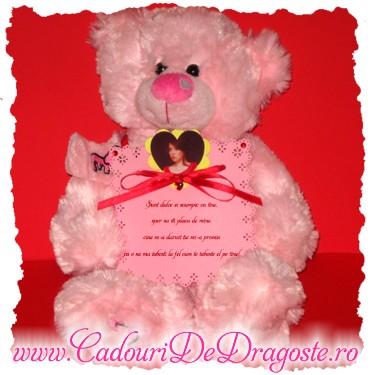ursulet personalizat roz 34 cm