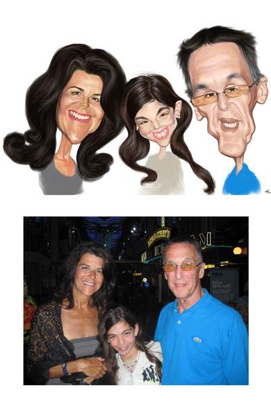 caricatura simpla trei persoane