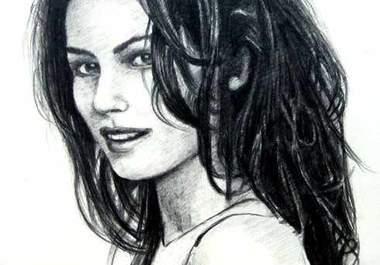 portret digital albnegru creionat