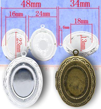 pendativ oval argintiu cu poza